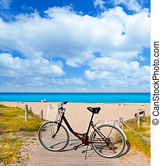 Bicycle in formentera beach on Balearic islands at Levante...