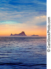 Ibiza sunset in Balearic islands view from sea - Ibiza...