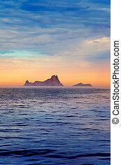 Ibiza sunset in Balearic islands view from sea - Ibiza...