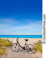 Bicycle in formentera beach on Balearic islands