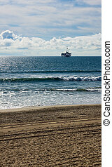Off Shore Oil Platform - Oil platform located off shore of...