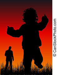 First steps - Abstract silhouette illustration of a proud...