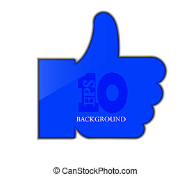 Vector blue thumb up isolated on white. Eps 10