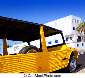 Balearic Formentera island La savina with retro car -...
