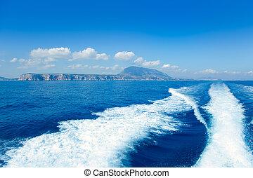 Alicante Denia view from sea and boat wake - Alicante Denia...