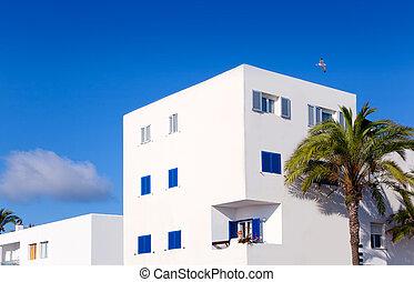 Balearic Formentera island white houses
