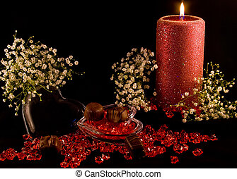 Lit Candle, beads, box - Glass Heart with red beads on a...
