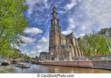 Westerkerk in Amsterdam - The Westerkerk church and a...