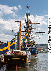 Frigate in harbor of Goteborg, Sweden - Frigate anchored in...