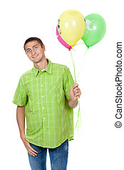 portrait of a smiling man holding balloons isolated on white background
