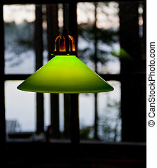Green light and a window background