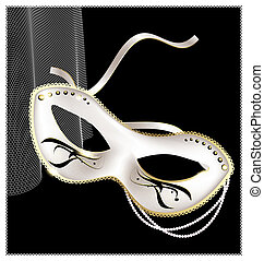 white carnival half- mask - on an black background is a...