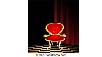 red chair in a dark room - a ceremonial old red-golden...