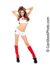 isolated - Beautiful girl cheerleader posing at studio...