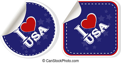stickers set - i love USA. Vector illustration