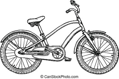 Old bicycle - vector rough drawing - Ancient bicycle -...