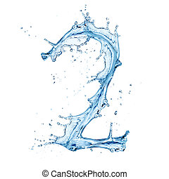 Water splashes number isolated on white background