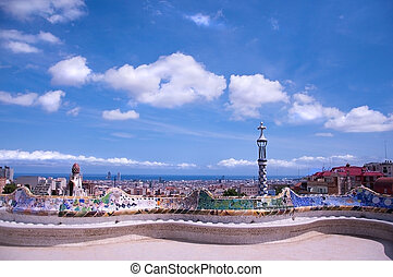 Barcelona view from Guell Park - View of Barcelona from...