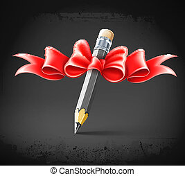 pencil decorated by bow on grunge background