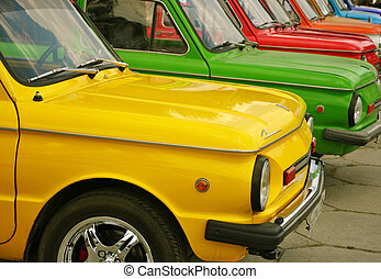 Colorful cars - Colorful Zaporozhets cars on a car...