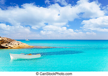 Es Calo de San Agusti with boat in Formentera island...