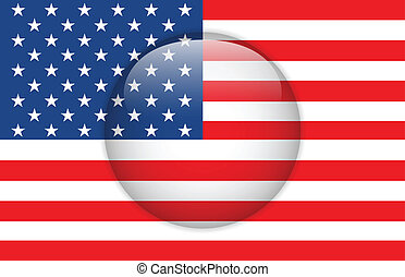 United States Flag Glossy Button