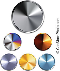 Metal Buttons. Silver, Gold, Copper - Vector - Metal...