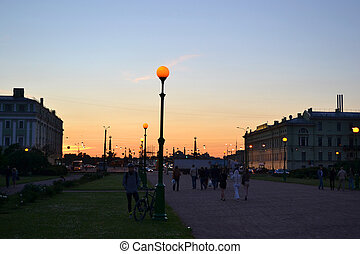 Sunset over Saint Petersburg - View of Field of Mars at...