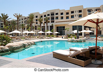 Swimming pool at the luxury hotel, Saadiyat island, Abu...