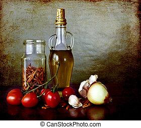 Mediterranean flavours-spices, olive oil, cherry...
