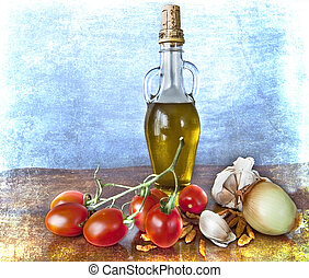 Mediterranean flavours - spices, olive oil, cherry tomatoes...