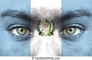 humano, cara, pintado, bandera, guatemala