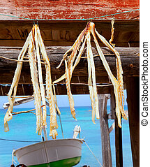 dried fish peix sec typical food in Mediterranean Balearic...
