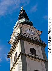 Bell tower of Church St Egyd in Klagenfurt - The bell tower...