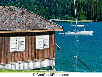 Boat house at the lake Woerther, Austria