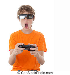 child playing 3d video game - child playing video game with...