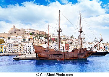 Eivissa ibiza town with old classic wooden boat - Eivissa...