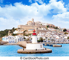 Eivissa ibiza town from red lighthouse red beacon in...