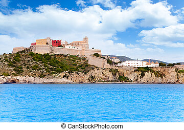 Eivissa ibiza town castle and church view from sea