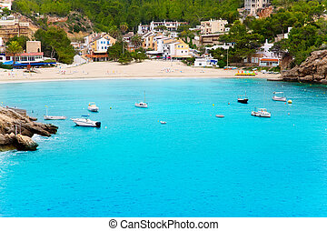 Cala Vadella in Ibiza island with turquoise water - Cala...