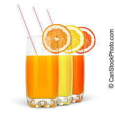 different juices with straw and slice isolated on white...