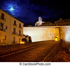 Eivissa Ibiza town with night moon castle entrance and...
