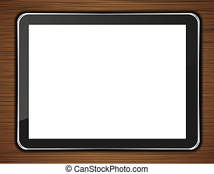 Vector computer tablet on wooden background. Eps 10