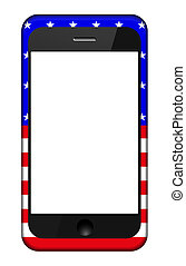 Vector smartphone in a USA flag cover isolated on white. Eps 10