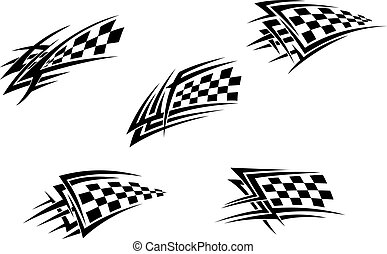 Racing flag tattoos - Racing flags in tribal style for...