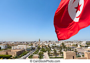 Top view of streets at Monastir city, Tunisia Minaret of...