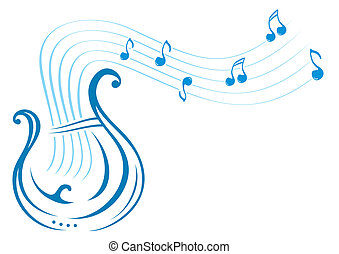 Lyre music - Design with music notes and lyre on...