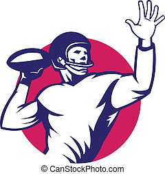American Quarterback Football Player Pass - Illustration of...