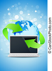 Background with Laptop and Earth Globe