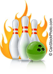 skittles and ball for bowling game vector illustration...